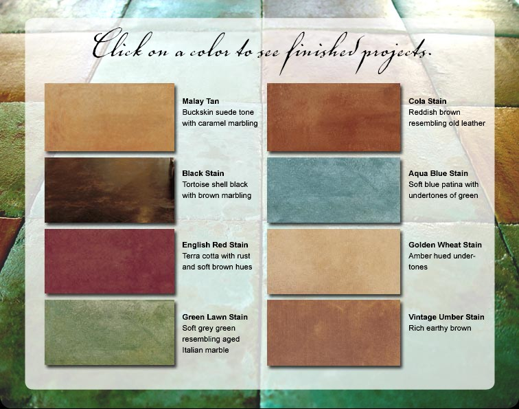 Stained Concrete Color Chart - Decorative Concrete ...